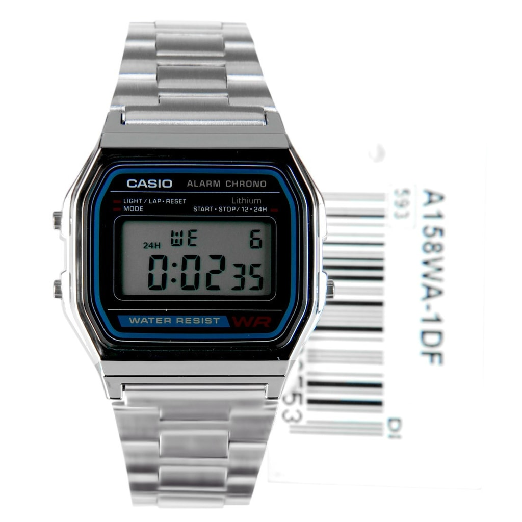 Casio Retro Chronograph - A158WA-1DF - TimeStore.sk cd42b9e928a