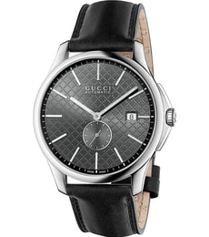 Hodinky Gucci G-Timeless Automatic Grey Dial Black Leather YA126319